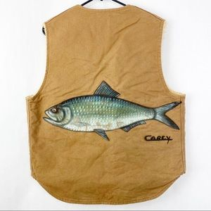 Carhartt Shearling Handpainted Fish Vest Men Large